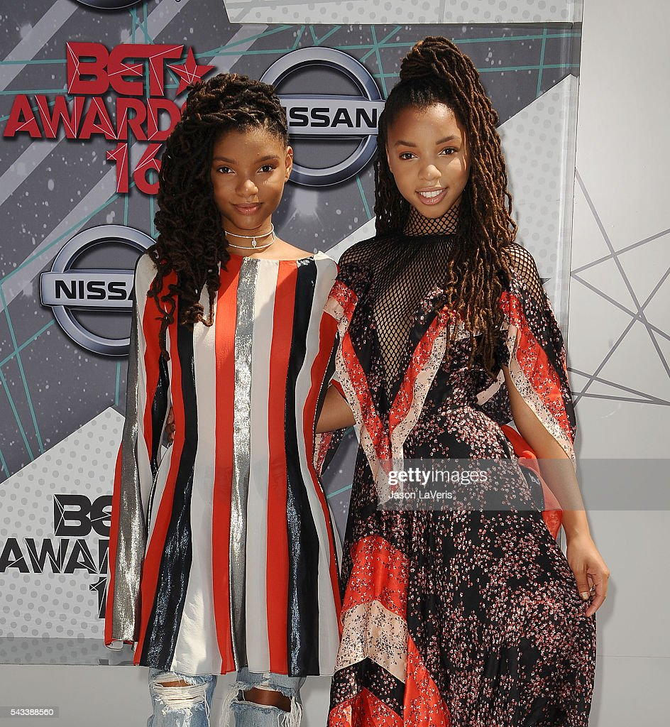 Chloe Bailey and Halle Bailey of Chloe X Halle attend the 2016 BET Awards at Microsoft Theater on June 26, 2016 in Los Angeles, California.