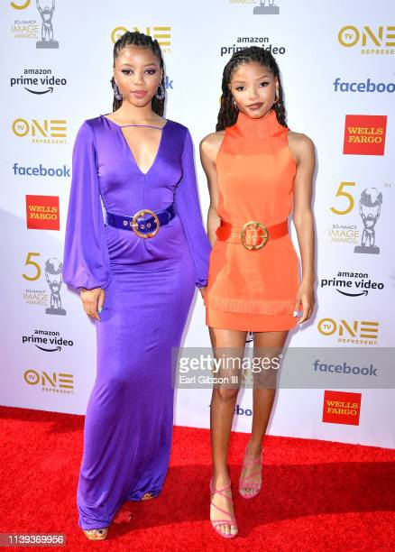 Chloe Bailey and Halle Bailey of Chloe x Halle attend the 50th NAACP Image Awards at Dolby Theatre on March 30 2019 in Hollywood California