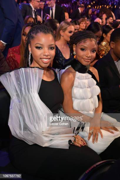 Chloe Bailey and Halle Bailey of Chloe X Halle during the 61st Annual GRAMMY Awards at Staples Center on February 10 2019 in Los Angeles California