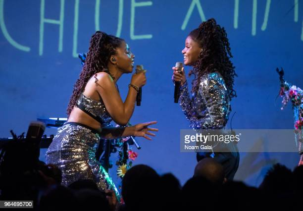 Chloe Bailey and Halle Bailey of Chloe x Halle perform in concert at SOB's on May 31 2018 in New York City