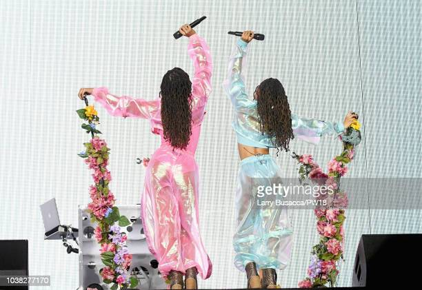 Chloe Bailey and Halle Bailey of Chloe X Halle perform onstage during the 'On The Run II' Tour at Rose Bowl on September 22 2018 in Pasadena...