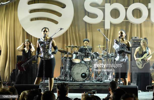 Chloe Bailey and Halle Bailey of Chloe X Halle perform onstage during Spotify Best New Artist 2019 party at Hammer Museum on February 7 2019 in Los...