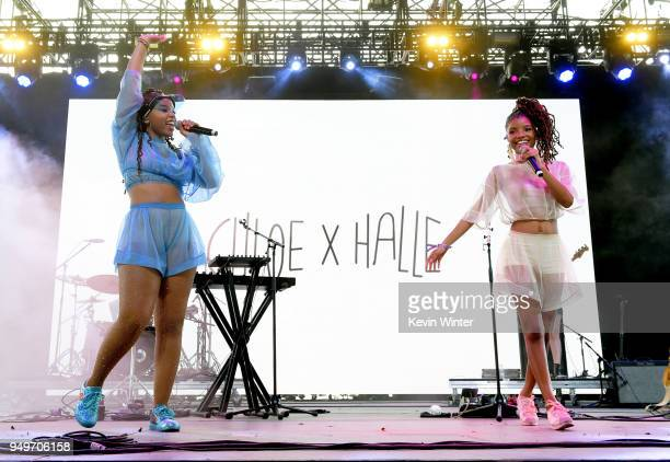 Chloe Bailey and Halle Bailey of Chloe x Halle perform onstage during the 2018 Coachella Valley Music And Arts Festival at the Empire Polo Field on...