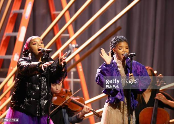 Chloe Bailey and Halle Bailey onstage during the 2018 Essence Black Women In Hollywood Oscars Luncheon at Regent Beverly Wilshire Hotel on March 1...