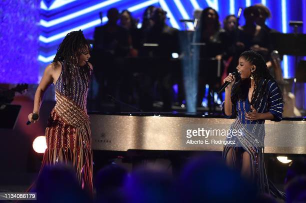 Chloe Bailey and Halle Bailey perform onstage at AllStar Lineup Pays Tribute At 'Aretha A GRAMMYCelebration For The Queen Of Soul at The Shrine...