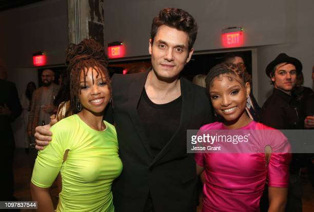 Chloe Bailey of Chloe X Halle John Mayer and Halle Bailey of Chloe X Halle attend the Sony Music Entertainment 2019 PostGrammy Reception at NeueHouse...