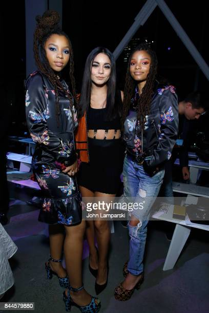Chloe Bailey Vanessa Hudgens and Halle Bailey attend Jeremy Scott collection during the September 2017 New York Fashion Week The Shows on September 8...