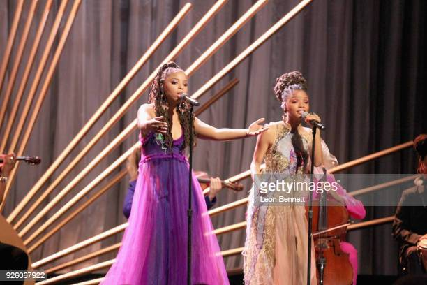 Chloe Bailey x Halle Bailey perform onstage during the 2018 Essence Black Women In Hollywood Oscars Luncheon at Regent Beverly Wilshire Hotel on...