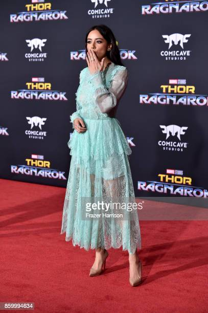 Chloe Bennet arrives at the Premiere Of Disney And Marvel's 'Thor Ragnarok' Arrivals on October 10 2017 in Los Angeles California