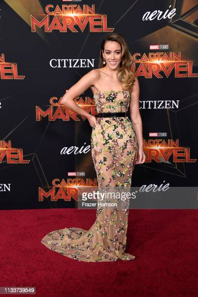 Chloe Bennet attends Marvel Studios Captain Marvel Premiere on March 04 2019 in Hollywood California