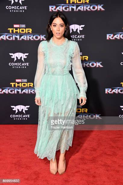 Chloe Bennet attends the premiere of Disney and Marvel's Thor Ragnarok on October 10 2017 in Los Angeles California