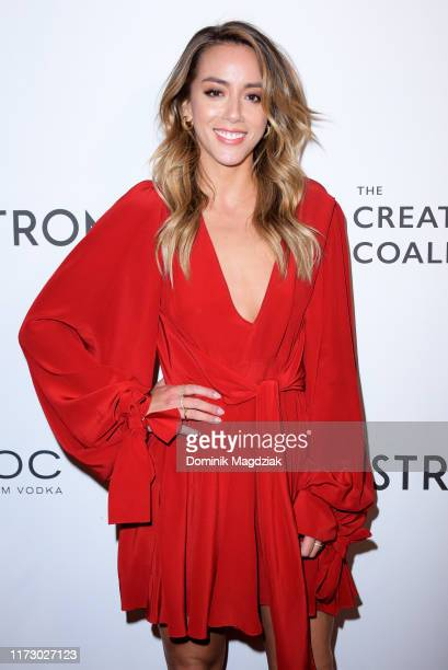 Chloe Bennet attends the The Creative Coalition's Annual Spotlight Initiative Awards Dinner Gala at Nordstrom Supper Suite at MARBL Restaurant on...