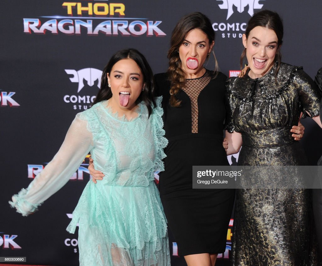 Chloe Bennet, Natalia Cordova-Buckley and Elizabeth Henstridge arrive at the premiere of Disney and Marvel's 'Thor: Ragnarok' at the El Capitan Theatre on October 10, 2017 in Los Angeles, California.