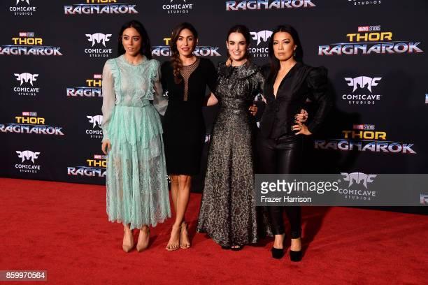 Chloe Bennet Natalia CordovaBuckley Elizabeth Henstridge and MingNa Wen attend the premiere of Disney and Marvel's Thor Ragnarok on October 10 2017...