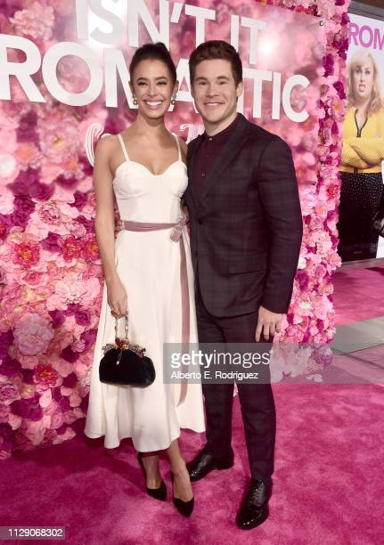 Chloe Bridges and Adam DeVine attend the World Premiere of Warner Bros Pictures' 'Isn't It Romantic' at The Theatre at Ace Hotel on February 11 2019...