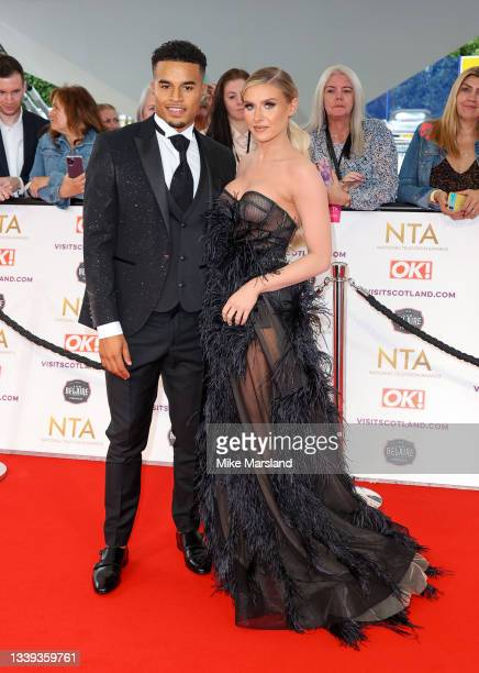 Chloe Burrows and Toby Aromolaran attend the National Television Awards 2021 at The O2 Arena on September 09, 2021 in London, England.