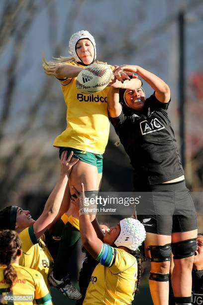 Chloe Butler of Australia controls line out ball during the International Women's Test match between the New Zealand Silver Ferns and the Australian...