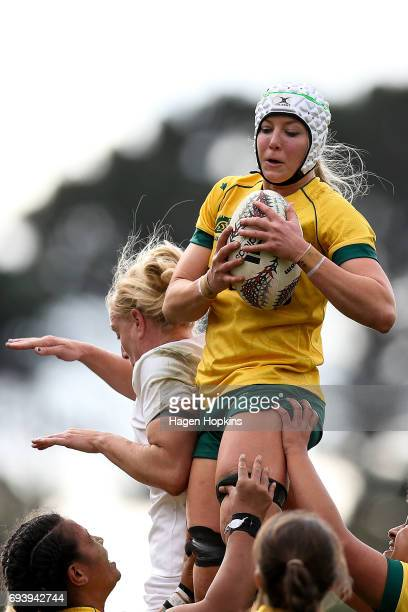 Chloe Butler of Australia wins a lineout during the Women's International Test match between the Australian Wallaroos and the England Roses at...