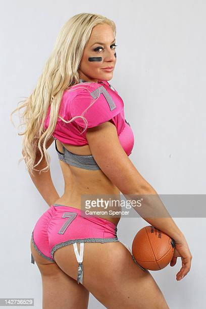 Chloe Butler of LA Temptation poses during a Lingerie Football League portrait session on April 12 2012 in Sydney Australia The ladies of the...