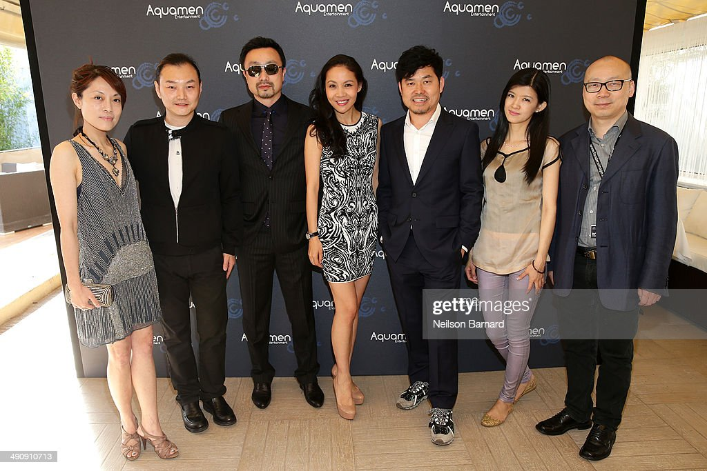 Chloe Dai, Li Ning, Gary Zhang, Lois Xu, JJ Kim, Hattie Yu, and Dong Bing Shan attend the 2014 Cannes Aquamen KONG Event At Mandala Beach / Cheri Cheri during the 67th Annual Cannes Film Festival at Mandala Beach on May 15, 2014 in Cannes, France.