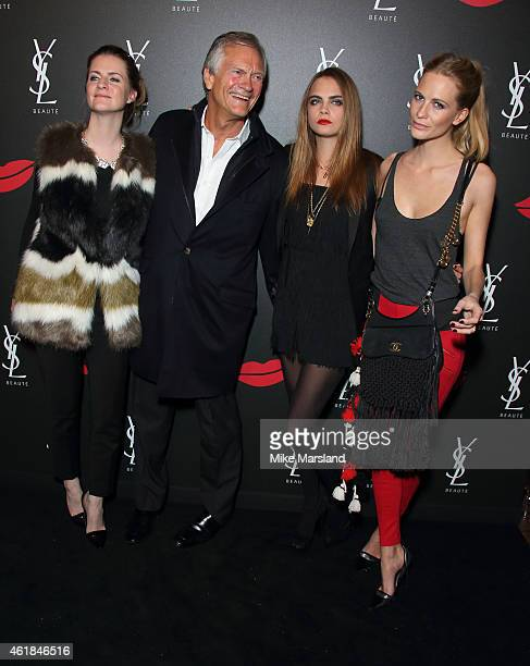 Chloe Delevingne, Charles Delevingne, Cara Delevingne and Poppy Delevingne attend the YSL Beaute: YSL Loves Your Lips party at The Boiler House,The...