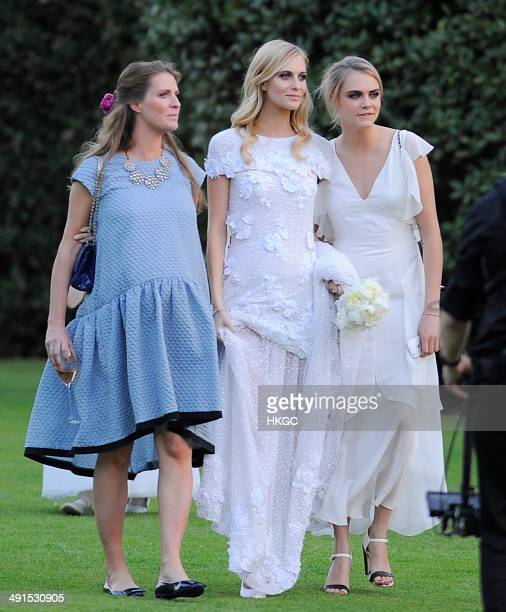Chloe Delevingne, Poppy Delevingne and Cara Delevingne are seen at Poppy Delevingnes and James Cook's wedding reception held in Kensington Palace...