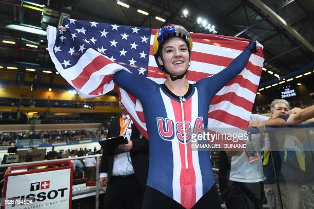 US Chloe Dygert celebrates after winning the women's individual pursuit final during the UCI Track Cycling World Championships in Apeldoorn on March...