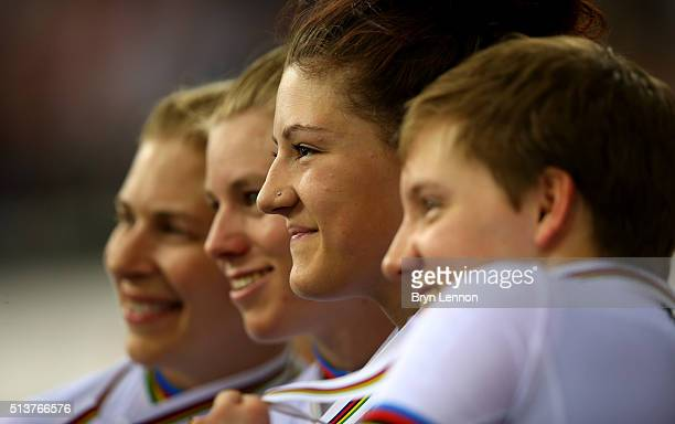 Chloe Dygert of America poses with her gold medal after winning the Women's Team Pursuit Final during Day Three of the UCI Track Cycling World...