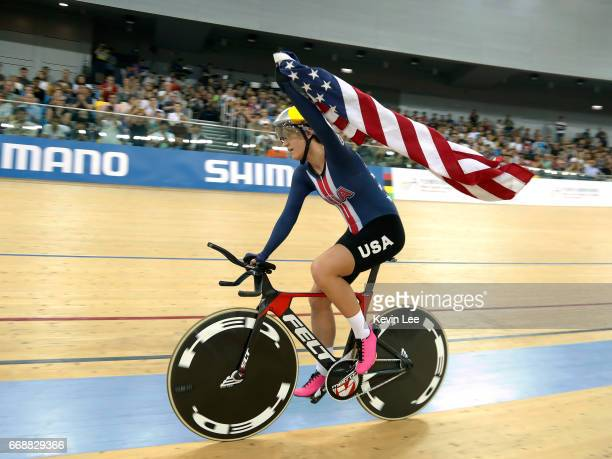 Chloe Dygert of the United States celebrates after winning Women's Individual Pursuit Final on Day 4 in 2017 UCI Track Cycling World Championships at...