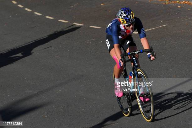 Chloe Dygert of The United States / during the 92nd UCI Road World Championships 2019 Women Elite Road Race a 1494km race from Bradford to Harrogate...