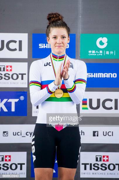 Chloe Dygert of USA celebrates winning in the Women's Individual Pursuit's prize ceremony during 2017 UCI World Cycling on April 15 2017 in Hong Kong...