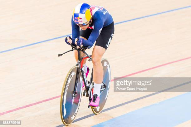 Chloe Dygert of USA competes on the Women's Individual Pursuit Finals during 2017 UCI World Cycling on April 15 2017 in Hong Kong Hong Kong