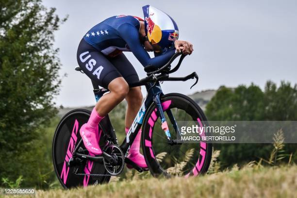 Chloe Dygert Owen competes in the Women's Elite Individual Time Trial at the UCI 2020 Road World Championships in Imola, Emilia-Romagna, Italy, on...