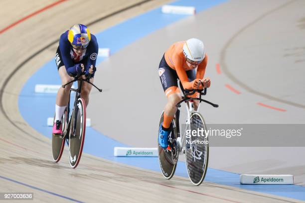 Chloe Dygert Women`s individual pursuit WORLD RECORD Annemiek van Vleuten during the UCI Track Cycling World Championships in Apeldoorn on March 3...