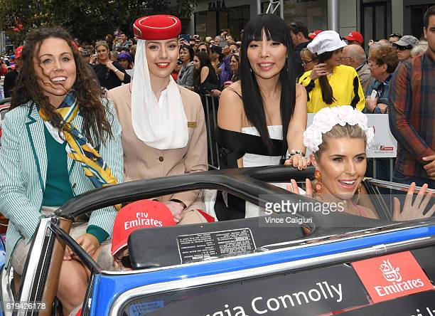 Chloe Esposito and Dami Im are seen during the 2016 Melbourne Cup Parade on October 31 2016 in Melbourne Australia