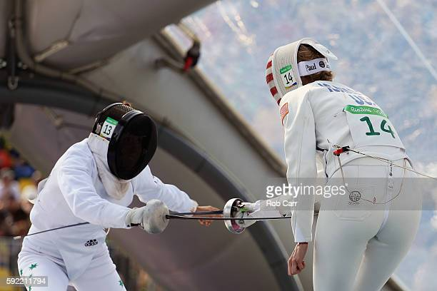 Chloe Esposito of Australia and Margaux Isaksen of the United States compete and during the Women's Fencing Modern Pentathlon on Day 14 of the Rio...