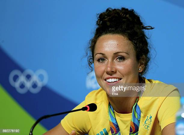 Chloe Esposito of Australia answers questions during a press conference on August 202016 at the Main Press Center in Rio de Janeiro Brazil