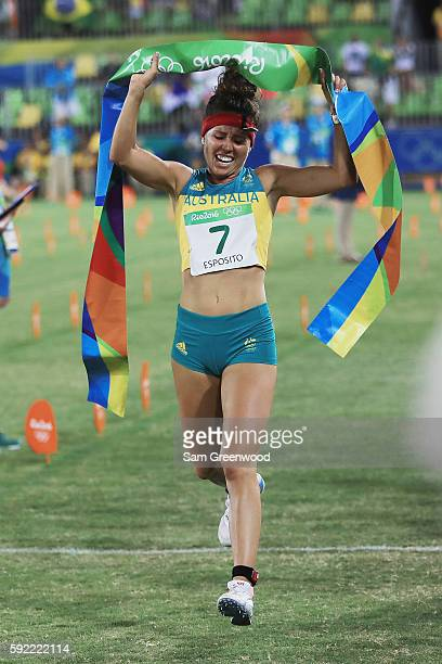 Chloe Esposito of Australia competes during the Combined Running/Shooting during the Modern Pentathlon on Day 14 of the Rio 2016 Olympic Games at the...