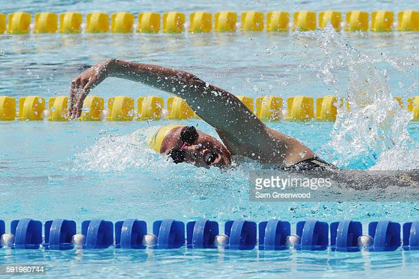 Chloe Esposito of Australia competes during the Women's Swimming Modern Pentathlon on Day 14 of the Rio 2016 Olympic Games at the Deodoro Aquatics...