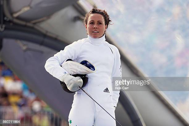 Chloe Esposito of Australia looks on during the Women's Fencing Modern Pentathlon on Day 14 of the Rio 2016 Olympic Games at the Deodoro Stadium on...