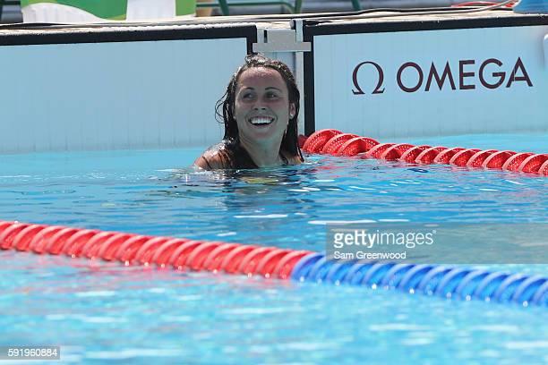 Chloe Esposito of Australia smiles during the Women's Swimming Modern Pentathlon on Day 14 of the Rio 2016 Olympic Games at the Deodoro Aquatics...