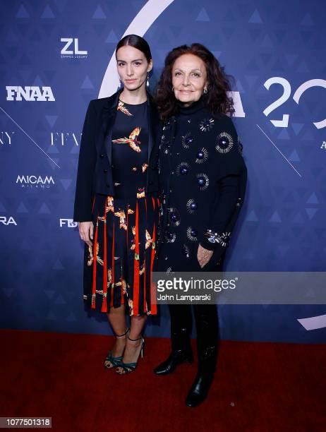 Chloe Gosselin and Diane von Furstenberg attend 2018 FN Achievement Awards at IAC Headquarters on December 04, 2018 in New York City.