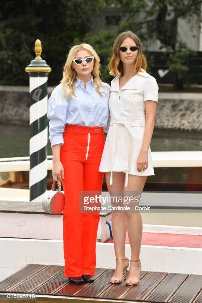 Chloe Grace Moretz and Mia Goth are seen arriving at the 75th Venice Film Festival on September 1 2018 in Venice Italy