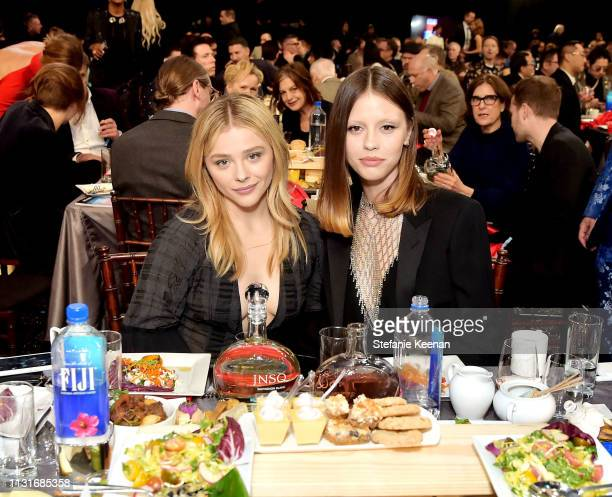 Chloe Grace Moretz and Mia Goth with JNSQ Wines during the 2019 Film Independent Spirit Awards on February 23 2019 in Santa Monica California
