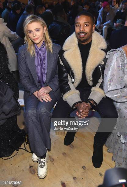 Chloe Grace Moretz and Michael B Jordan attend Coach 1941 fashion show at the NYSE on February 2019 during New York Fashion Week on February 12 2019...