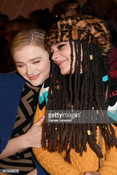 Chloe Grace Moretz and Sasha Lane attend the Fendi show during Milan Fashion Week Fall/Winter 2018/19 on February 22 2018 in Milan Italy