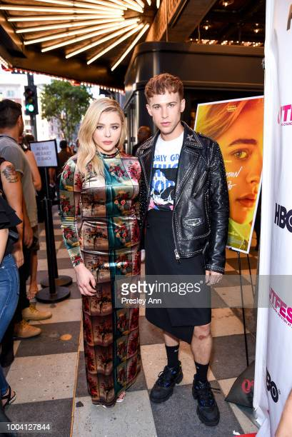 Chloe Grace Moretz and Tommy Dorfman attend 2018 Outfest Los Angeles LGBT Film Festival Closing Night Gala Of 'The Miseducation Of Cameron Post' Red...