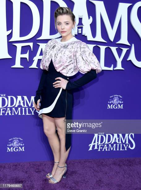 """Chloe Grace Moretz arrives at the Premiere Of MGM's """"The Addams Family"""" at Westfield Century City AMC on October 06, 2019 in Los Angeles, California."""
