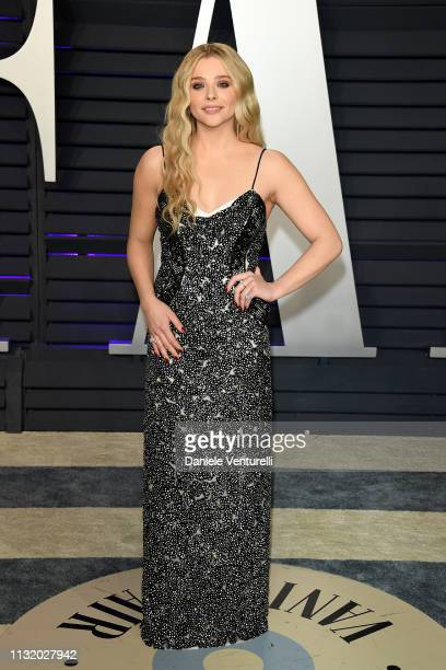 Chloe Grace Moretz attends 2019 Vanity Fair Oscar Party Hosted By Radhika Jones Arrivals at Wallis Annenberg Center for the Performing Arts on...