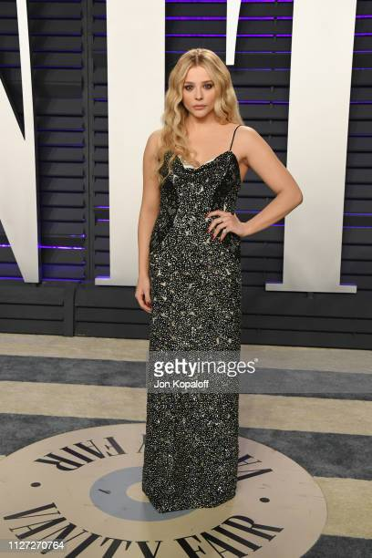 Chloe Grace Moretz attends the 2019 Vanity Fair Oscar Party hosted by Radhika Jones at Wallis Annenberg Center for the Performing Arts on February...